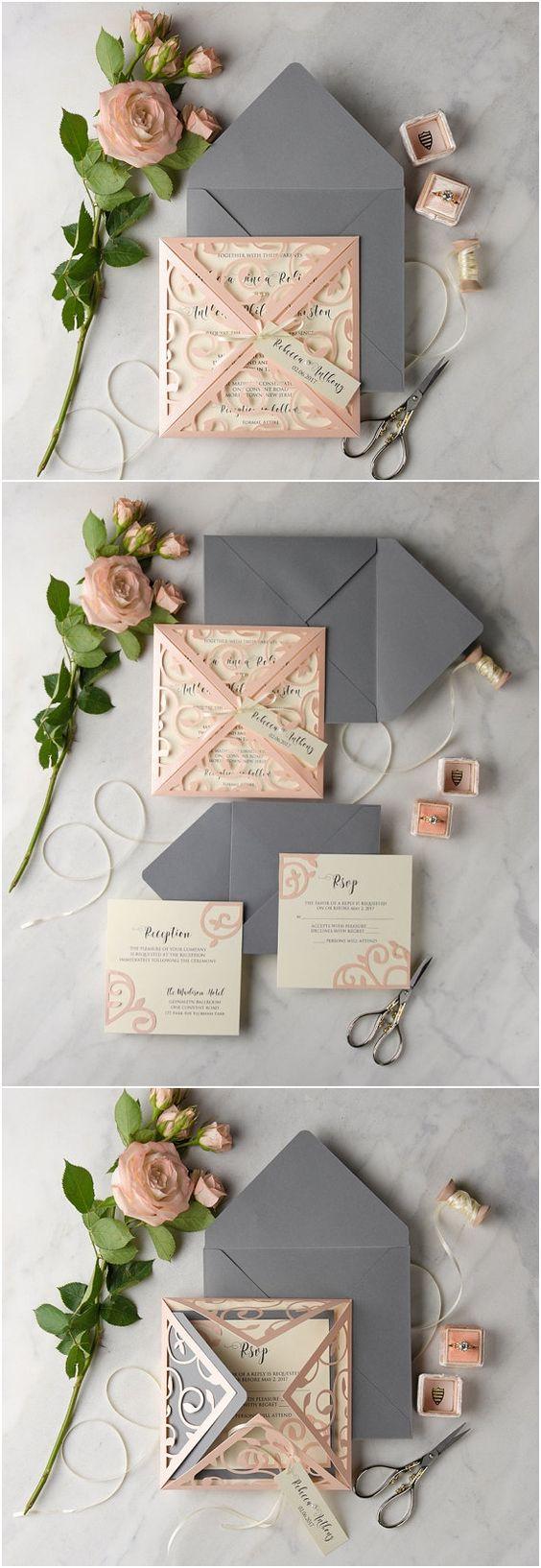 rustic wedding invitations rustic wedding invitation Peach Grey Lace Laser Cut Wedding Invitation Set