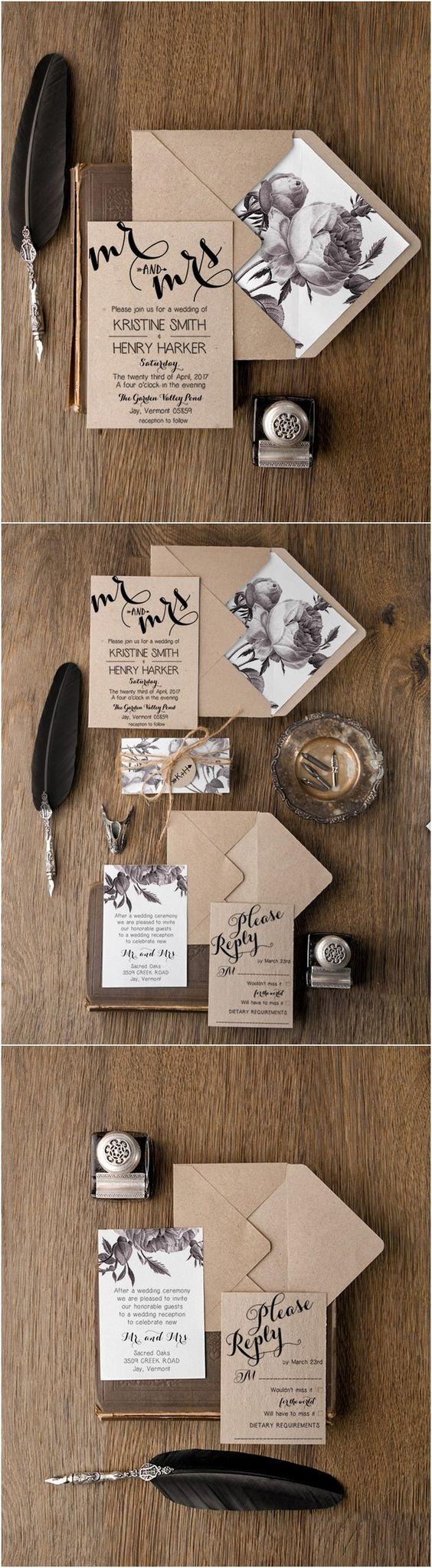 rustic wedding invitations wood wedding invitations Rustic simple wedding invitations