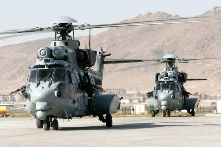 Two French army EC725 Cougars, part of the contingent of 14 operating in Afghanistan. The French government ordered five more Cougars as part of an economic stimulus bill. Courtesy of Eurocopter GmBH/Frederic Lert
