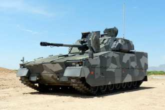 The Swedish CV-9035 is one of five vehicles being assessed during the Army's Ground Combat Vehicle Non-Developmental Vehicle Assessment effort at Fort Bliss, Texas, and White Sands Missile Range, N.M. U.S. Army photo