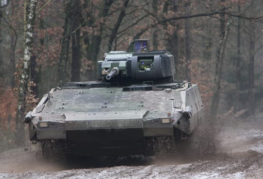 "The SAIC-led team competing during the last round of proposals for the GCV offered a variant of the Puma IFV shown here. The new RfP stresses ""mature technology,"" which is likely to lead to some off-the-shelf proposals of variants of existing designs. Photo courtesy of Rheinmetall Defense."