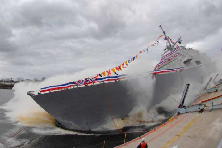 The littoral combat ship Pre-Commissioning Unit (PCU) Fort Worth (LCS 3) is launched into the Menominee River during a christening ceremony for the navy's third littoral combat ship. Fort Worth will continue to undergo outfitting and testing at Marinette Marine before delivery to the Navy in 2012. U.S. Navy photo courtesy of Lockheed Martin