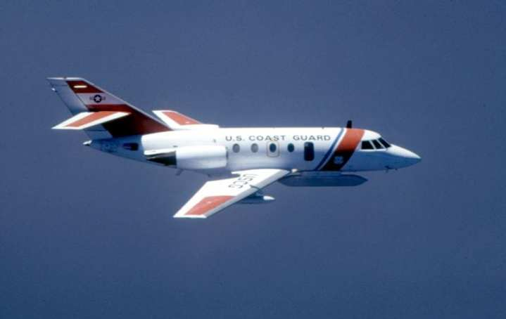 A Coast Guard HU-25B aircraft with Aireye oil spill detection system, of the type used to track Saddam Hussein's deliberately caused oil spill during Operation Desert Storm. U.S. Coast Guard photo