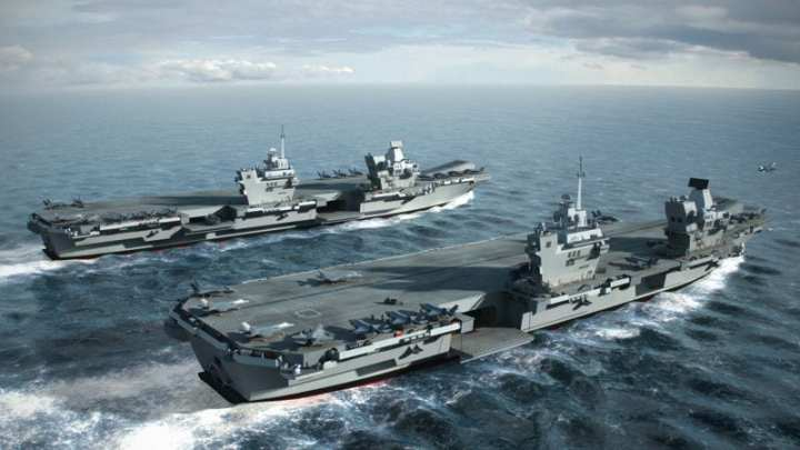 An artist's conception of the two future Royal Navy aircraft carriers in a scene unlikely to ever be viewed in reality: both at sea with full air groups. Image courtesy of BAE Systems