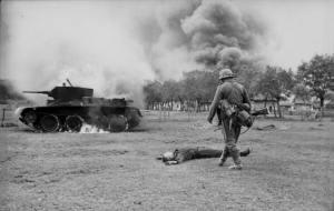 Soviet tank burning during opening days of Operation Barbarossa