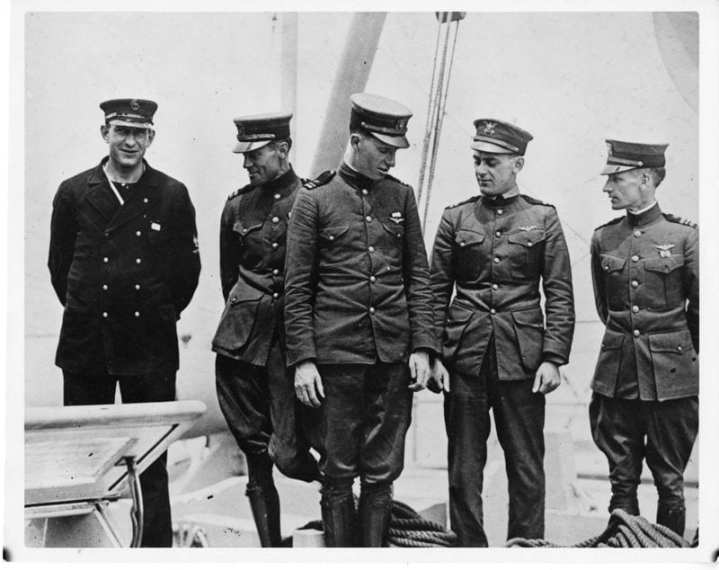 The crew of the NC-4 in Lisbon, Portugal, May 28, 1919. From left to right: Eugene Rhoades, Lt. j.g. Breese, Lt. j.g. Walter Hinton, Lt. Elmer Stone, USCG, Lt. Cmdr. A.C. Read, CO. Stone piloted the NC-4 on her historic flight across the Atlantic. He continued working with the Navy for the next decade, with the approval of the Treasury Department, where he helped to create carrier aviation in the Coast Guard's sister sea service. U.S. Coast Guard photo