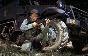 Infantryman in 1942 with M1 Garand, Fort Knox, Ky.