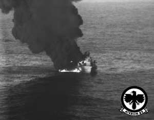 Libyan corvette burns Gulf of Sidra