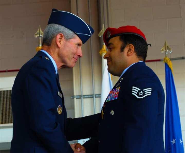 Air Force Chief of Staff Gen. Norton Schwartz and Staff Sgt. Robert Gutierrez