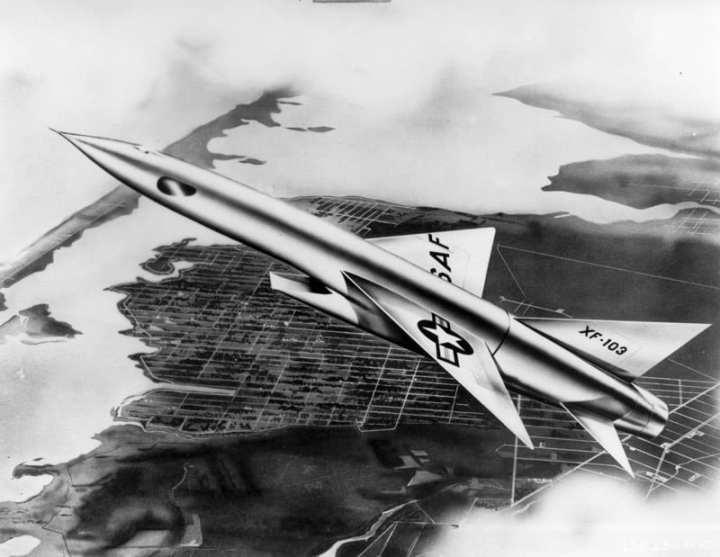 XF-103 over American city