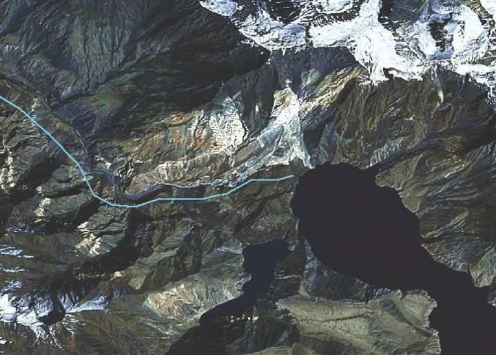 Satellite image of the world's largest natural dam located in the mountains of Tajikistan. Experts warn that if the dam was to fail, it would potentially be the worst natural disaster in human history affecting millions of people. U.S. Army Corps of Engineers photo