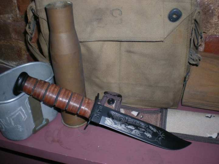 Limited-edition commemorative KA-BAR knives are very popular collectibles. This photo displays a Marine KA-BAR knife commemorating Operation Desert Storm. Author's collection