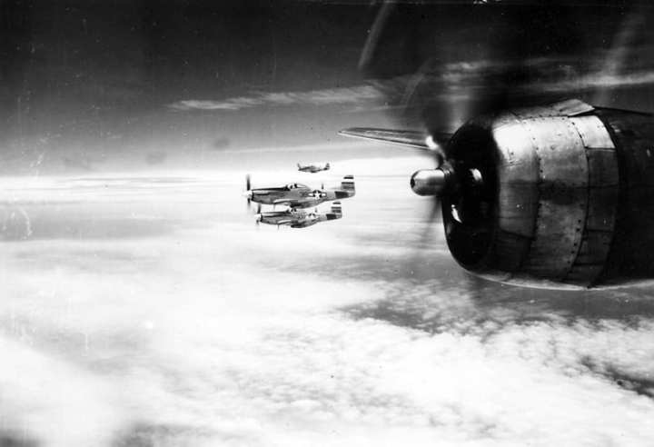P-51 Mustangs Escorting B-29-Superfortresses