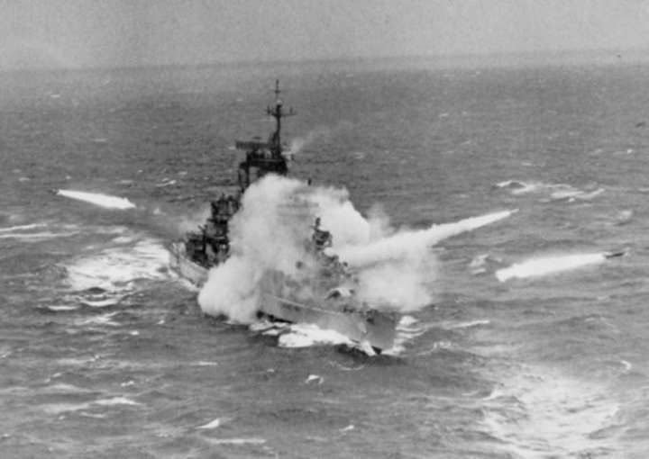 USS Albany firing missiles 1963