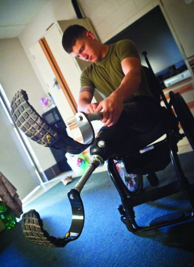Lance Cpl. Adrian Simone prosthetics