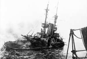 HMS Irresistible mined 18 March 1915