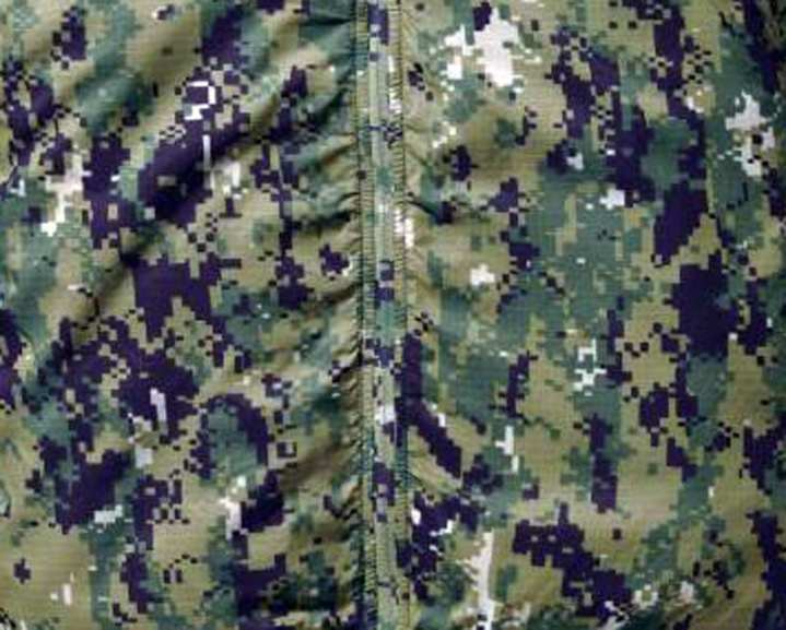 A closeup of the PCU Level 3A Jacket showing the MultiCam® pattern. Polartec photo
