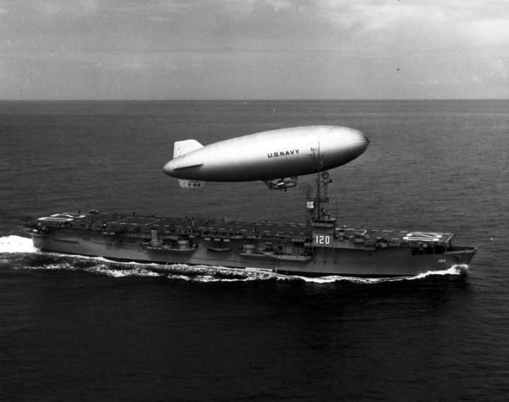 The U.S. Navy airship K-69 launches from the deck of the escort carrier USS Mindoro (CVE 120), April 26, 1950. National Museum of Naval Aviation photo