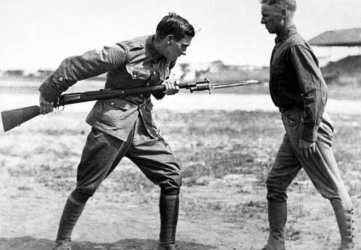 A U.S. Army soldier conducts bayonet training, Fort Bliss, Texas, Jan. 1, 1917. DoD photo
