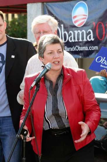 Then-Governor Janet Napolitano speaking at a campaign event for then-Senator Barack Obama, Jan. 26, 2008. Napolitano could soon be speaking at campaign events on behalf of herself. Barack Obama photo