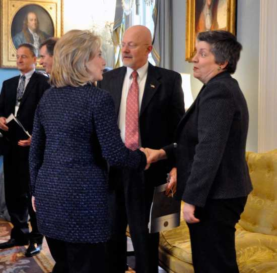 U.S. Department of Homeland Security Secretary Janet Napolitano is greeted by Then-Secretary of State Hillary Clinton. Although colleagues in the Obama Administration, Napolitano and Clinton could find themselves competing for the 2016 Democratic Party presidential nomination. Medill D.C. photo