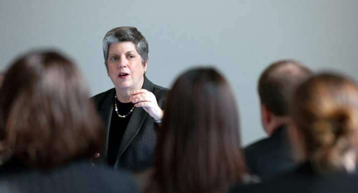 U.S. Department of Homeland Security Secretary Janet Napolitano speaks at the Emerging Leaders Symposium, March 27, 2012. Rumors of her being interested in a presidential bid are swirling. U.S. Department of Homeland Security photo