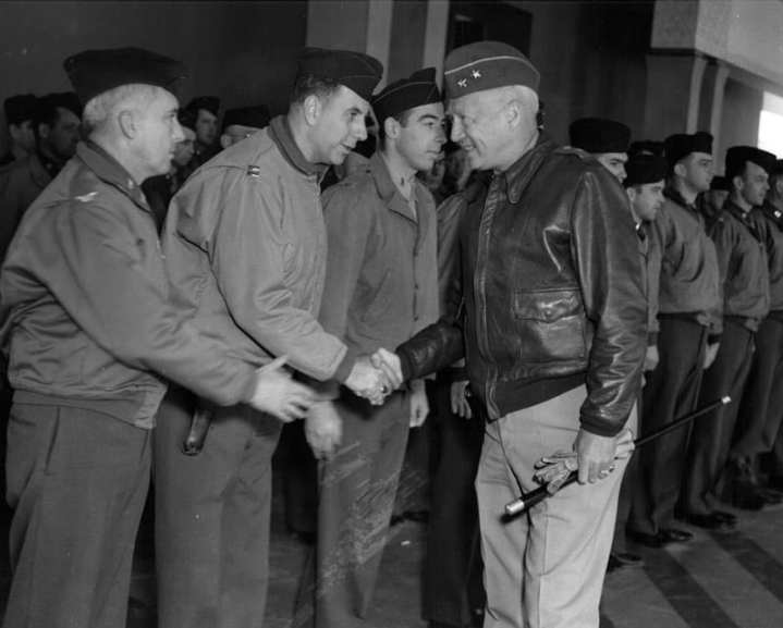 Maj. Gen. George S. Patton says goodbye to his staff officers just prior to his departure for the Tunisian battlefield and command of the U.S. Army's II Corps. General George Patton Museum photo