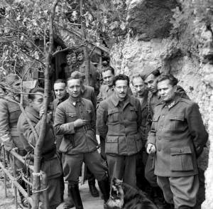 Josip Broz Tito (far right) with some of his Partisans in Yugoslavia, May 1944. Eventually the British threw their support to the communist Tito. Imperial War Museum photo