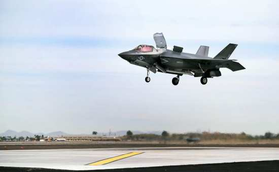 Marine Fighter Attack Squadron 121 F-35B Lightning II Joint Strike Fighter prepares to make a vertical landing aboard Marine Corps Air Station Yuma, Ariz., March 21, 2013. This marks the first vertical landing of a Marine Corps F-35B outside of a testing environment. Global Trends 2030 will help defense companies develop hedging strategies and choose which technologies to focus development dollars on. U.S. Marine Corps photo by Cpl. Ken Kalemkarian