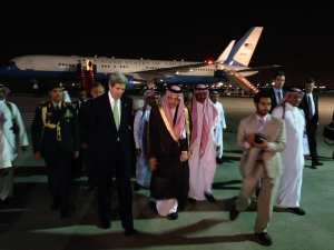 U.S. Secretary of State John Kerry walks with Saudi Arabian Foreign Minister Saud Al-Faisal upon his arrival to Riyadh, Saudi Arabia, on March 3, 2013. One of the jobs of the new Secretary of State will be to get the members of the Gulf Cooperation Council (United Arab Emirates, Bahrain, Saudi Arabia, Oman, Qatar, and Kuwait) to work together to develop missile defense. State Department photo
