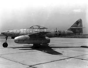 The Messerschmitt Me 262 Schwalbe (Swallow) was the first jet fighter to become operational in large numbers. This angle accentuates the sweepback of its wing, which was 18.5 degrees. Photo courtesy of the Robert F. Dorr Collection