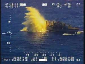 Ex-USNS Concord is targeted by Royal Canadian Navy submarine HMCS Victoria during a sinking exercise near the Pacific Missile Range Facility Barking Sands, Kauai, Hawaii. Canadian Forces photo