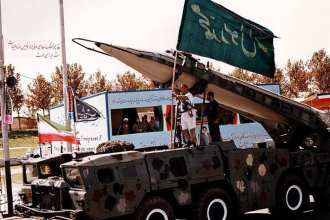 An Iranian Shahab-3 medium-range ballistic missile on a launcher during a military parade for the Army of the Guardians of the Islamic Revolution. Sajed photo