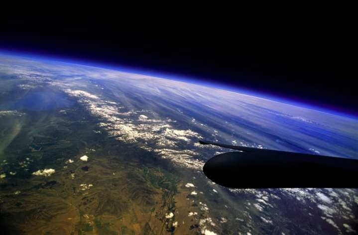 The western United States are visible from the cockpit of a U-2. Flying above 70,000 feet, U-2 pilots are able to see the curvature of the Earth and the upper edges of the stratosphere. Aerial reconnaissance has come a long ways from the days of the aerial balloon. U.S Air Force photo