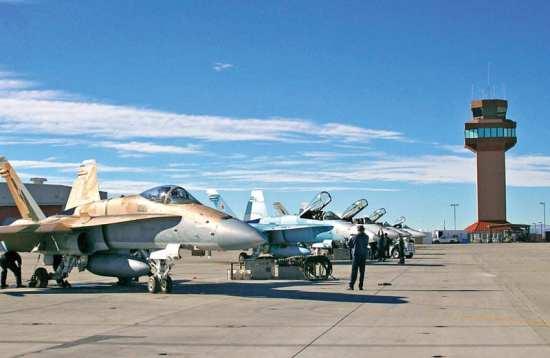 Ground crew prepares FA-18C Hornet