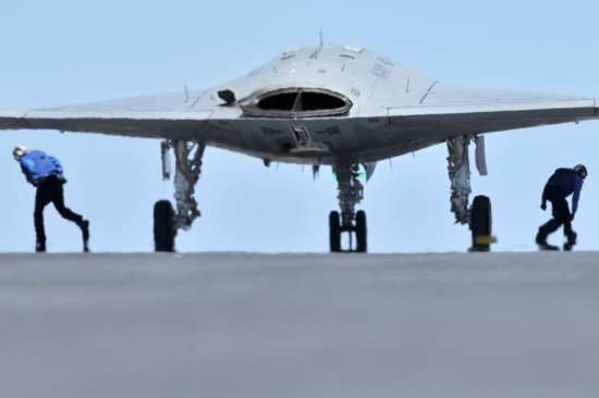 X-47B on catapult for first carrier launch
