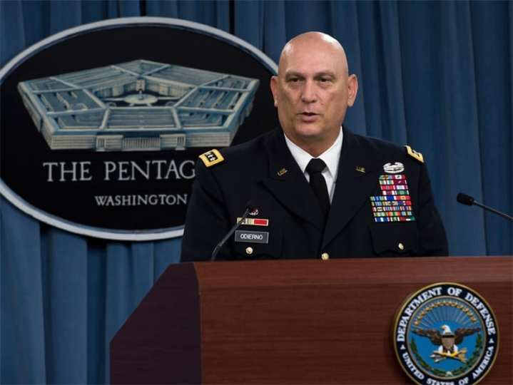 Chief of Staff of the Army Gen. Ray Odierno announces that the Army will reduce its number of brigade combat teams from 45 to 33 during a press conference in the Pentagon in Arlington, Va., on June 25, 2013.  Odierno also told reporters the Army will shrink its active component end strength by 14 percent, or 80,000 soldiers, to 490,000, from a wartime high of 570,000.  DoD photo by Erin A. Kirk-Cuomo