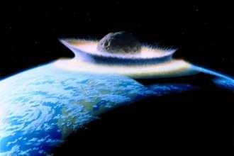 Planetoid crashing into primordial Earth