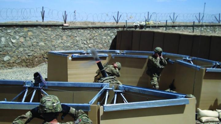 Engineer Research and Development Center (ERDC) technologies developed a Modular Protective System (MPS) mortar pit (above), a portable wall of lightweight space frames and composite armor panels designed to protect against enemy fire. ERDC has continued to refine materiels for Soldiers for force protection. ERDC photo