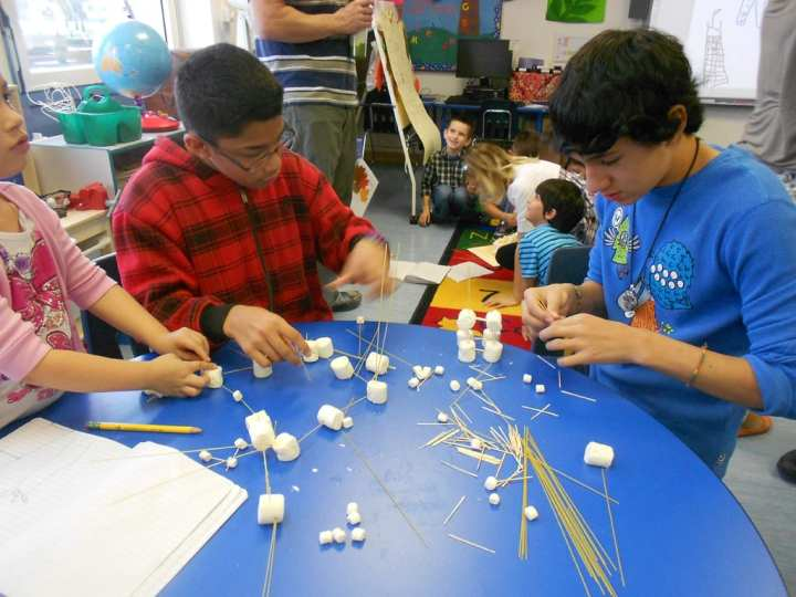 """A class of second-graders conducts a hands-on science, technology, engineering, and mathematics, or STEM, exercise Nov. 12, 2013, at U.S. Army Garrison Ansbach, Germany. The students """"engineered"""" structures using marshmallows and pasta. U.S. Army Corps of Engineers photo"""