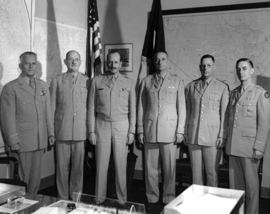 Medical generals gathered in August 1949, when the newly minted Air Force Medical Service was but six weeks old. Pictured from left to right are Lt. Gen. Malcolm Grow (surgeon general), Maj. Gen. George R. Kennebeck (first Dental Corps chief 1949-1952), Gen. Harry Armstrong (surgeon general 1949-1954), Brig. Gen. Dan Ogle (surgeon general 1954-1958), Brig. Gen. Albert Schwichtenberg, and Brig. Gen. William Henry Powell (served as deputy surgeon general 1953-1957). Air Force Medical Service photo