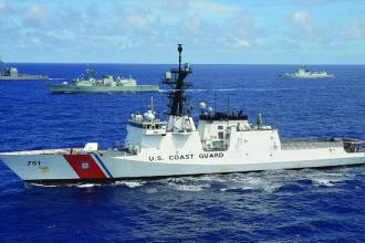 U.S. Coast Guard Legend-class CGC Waesche steams with HMCS Calgary (FFH 335) and USS Port Royal (CG 73) during Rim of the Pacific (RIMPAC) 2014. U.S. Navy photo by Mass Communication Specialist 1st Class Shannon Renfroe