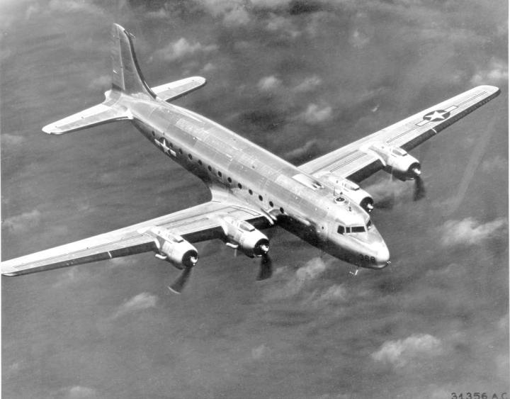 A special C-54C, nicknamed the Sacred Cow, became the first presidential aircraft. U.S. Air Force photo