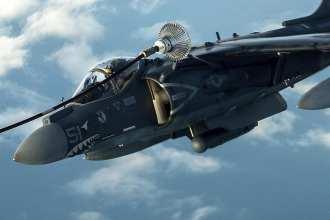 KC-135 refuels Harrier II