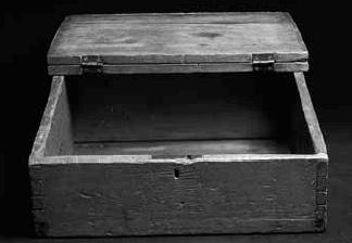 wooden box belonging to JS