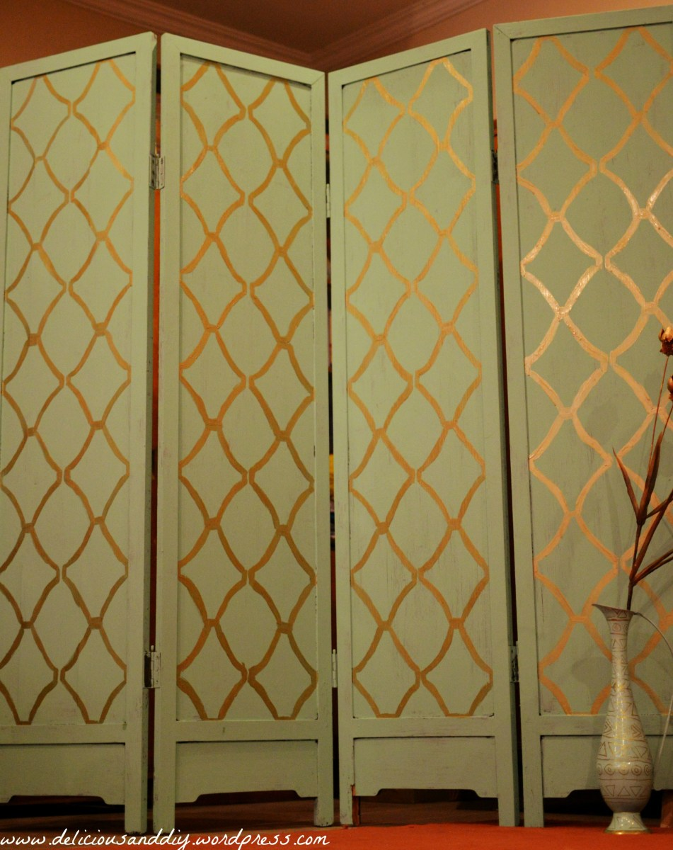 Room Divider Makeover With Hand Stenciling (Before and After)