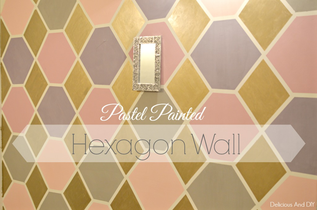 pastel painted hexagon feature wall- Delicious And DIY