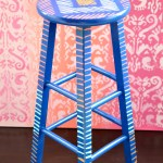 Brush Stroke Art Stool Makeover
