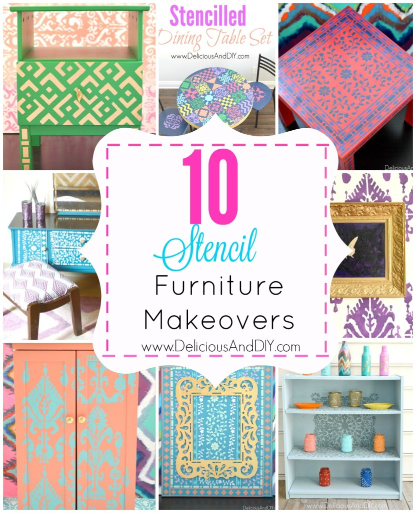 10 Stencil Furniture Makeovers- Delicious And DIY
