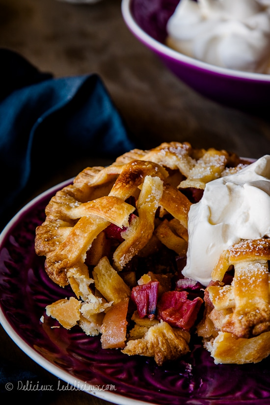 Apple and Rhubarb Pies recipe | Delicieux deliciouseveryday.com